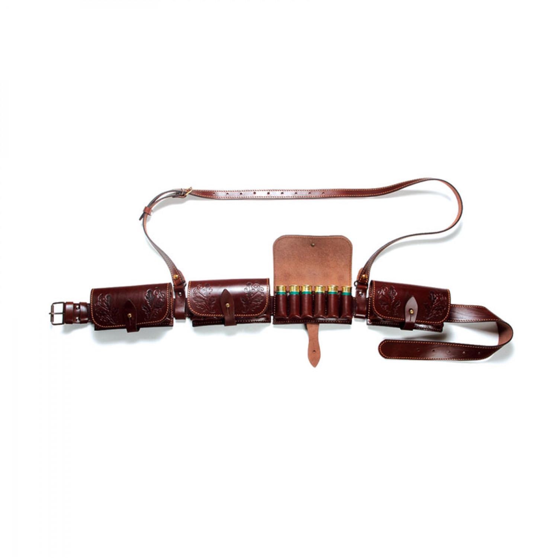 Патронташ из натуральной кожи со съемными подсумками и дополнительным поддерживающим ремнем Vektor П-40