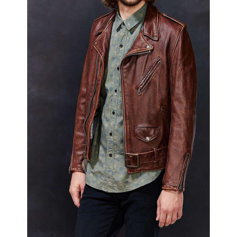 Куртка кожаная SCHOTT косуха Lightweight Fitted Cowhide Motorcycle Jacket Brown 626