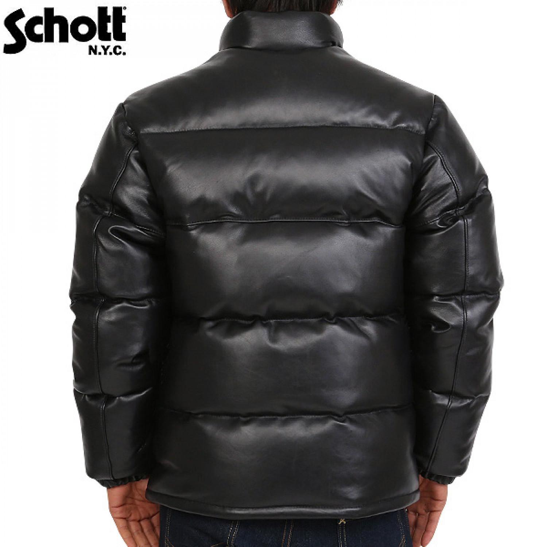 Куртка кожаная пуховик SCHOTT DOWN LEATHER 214D