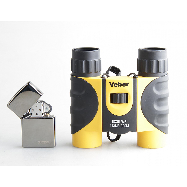 Бинокль Veber 8x25 WP черный/желтый