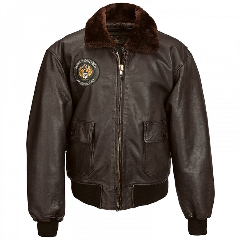 Куртка кожаная Alpha industries G-1 55th Anniversary Leather Jacket Brown