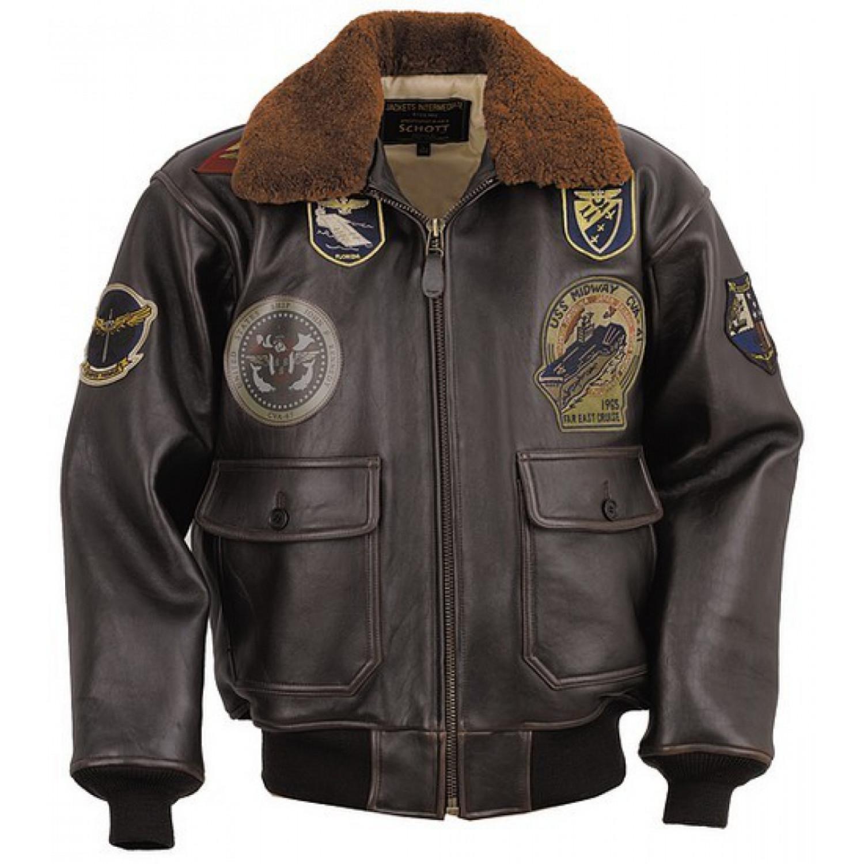 Куртка кожаная SCHOTT G1 TOP GUN (с нашивками) ANT коричневая