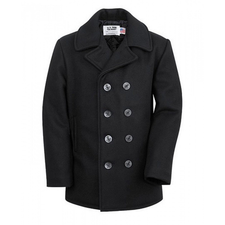 Бушлат шерстяной SCHOTT Classic Melton Wool Navy Pea Coat 740