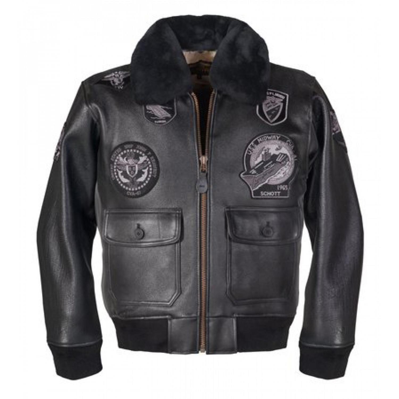 Куртка кожаная SCHOTT G1 TOP GUN (с нашивками) ANT черная
